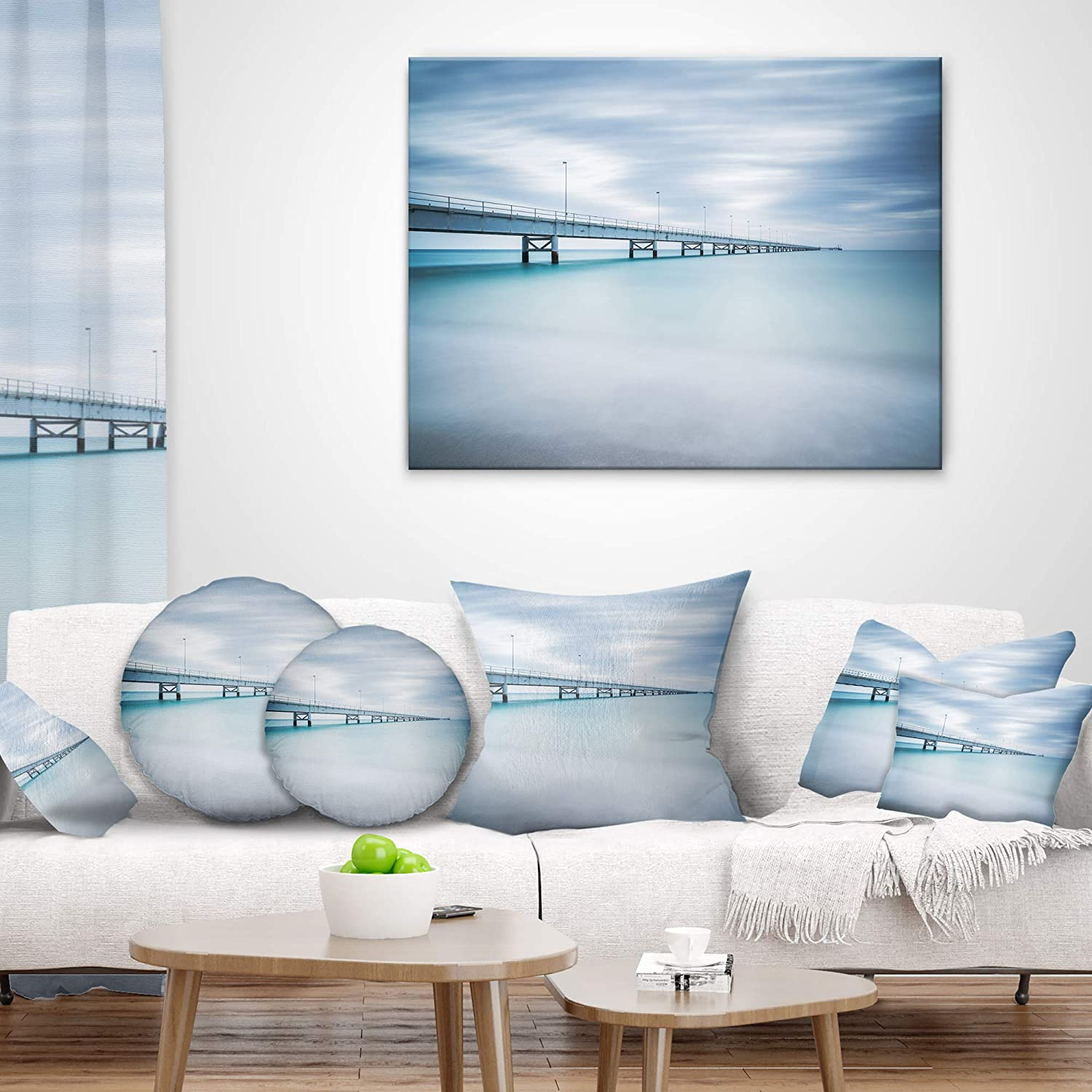 Sofa Throw Pillow 16 Insert Printed Designart CU8499-16-16-C Industrial Pier Side View Seascape Round Cushion Cover for Living Room