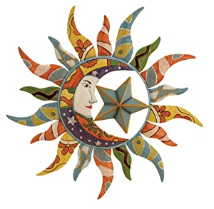 "Deco 79 Modern Celestial-Themed Metal Wall Decor, 25"" Diameter, Beautiful Multicolored Finish"