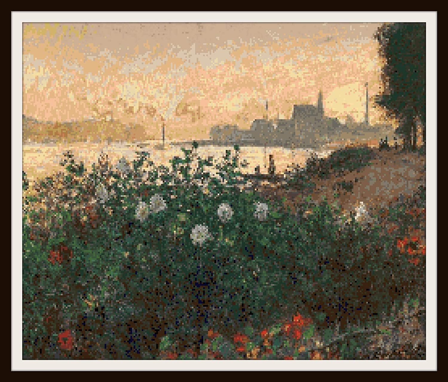 Claude Monet Fine Art Counted Cross Stitch Pattern 18 Count Charts with Colors and Symbols for DMC Floss