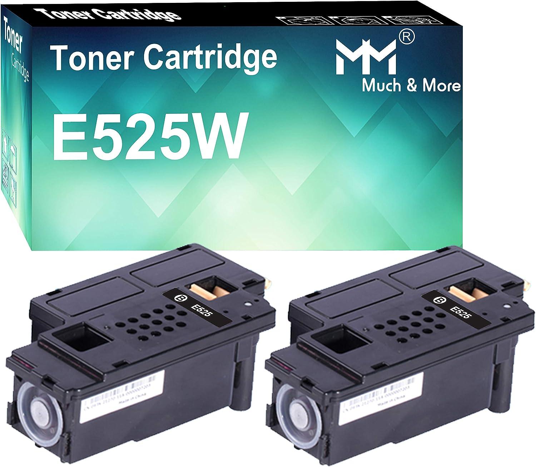 (2-Pack, Black) Compatible Toner Cartridge Replacement for Dell E525W E525 Dell E525W Wireless Color Laser Printer for 593-BBJX 593-BBJU 593-BBJV 593-BBJW, by MuchMore