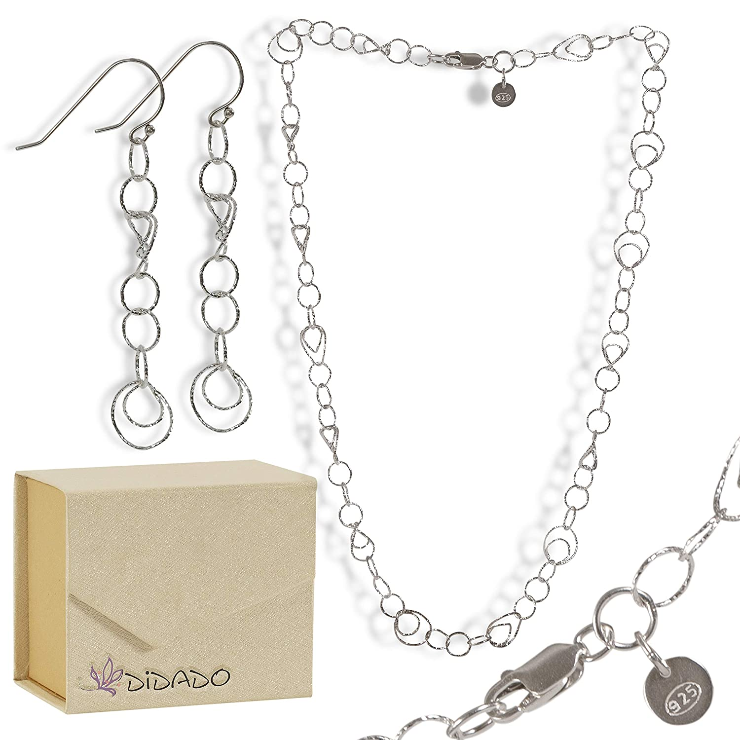 DiDaDo Sterling Silver Twisted Links Statement Chain with Bonus Pair of Earrings