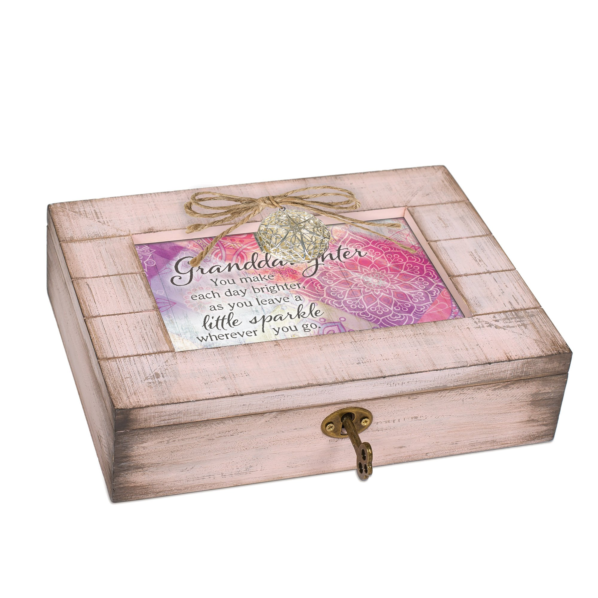 Cottage Garden Granddaughter Sparkle Blush Pink Distressed Locket Music Box Plays You are My Sunshine