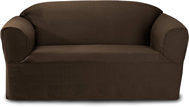 CoverWorks Bayleigh Wrap Style Loveseat Slipcover Bark Global Homewares Group Ltd BAYVLOVEBARK1