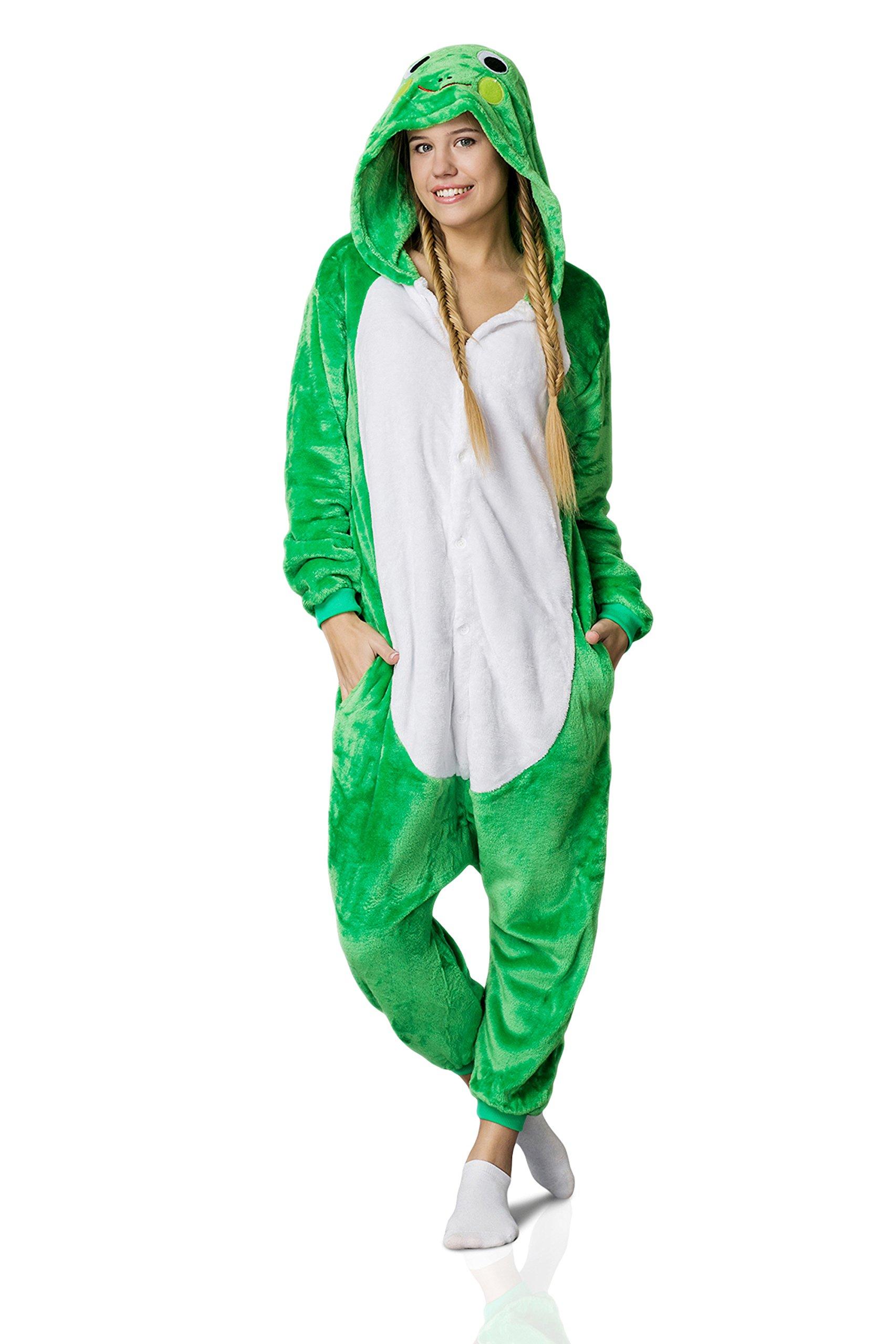 Nothing But Love Adult Frog Onesie Pajamas Kigurumi Animal Cosplay Costume One Piece Fleece Pjs (M, Green, White)