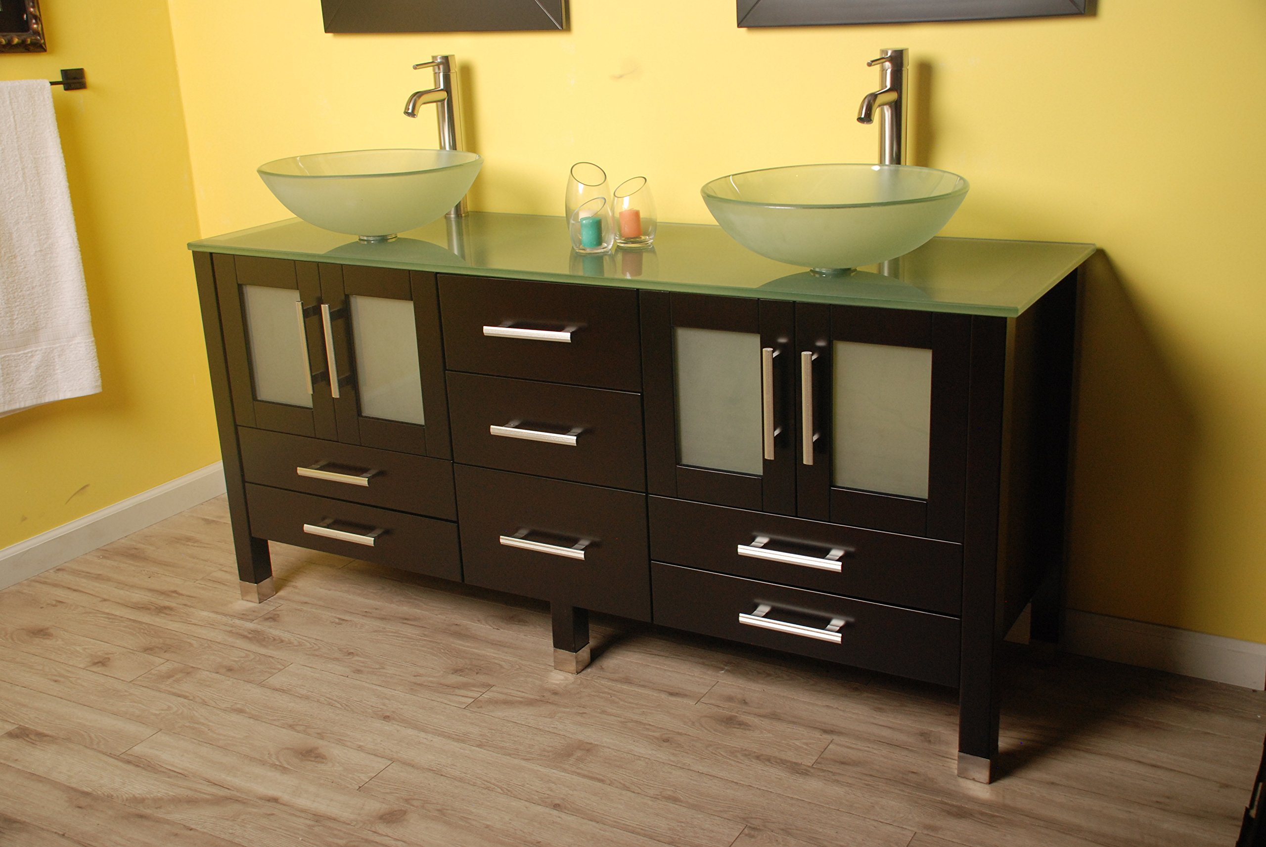 63 Inch Espresso Wood & Glass Double Sink Bathroom Vanity Set- ''Oregon'' (Brushed Nickel Faucets) by The Tub Connection