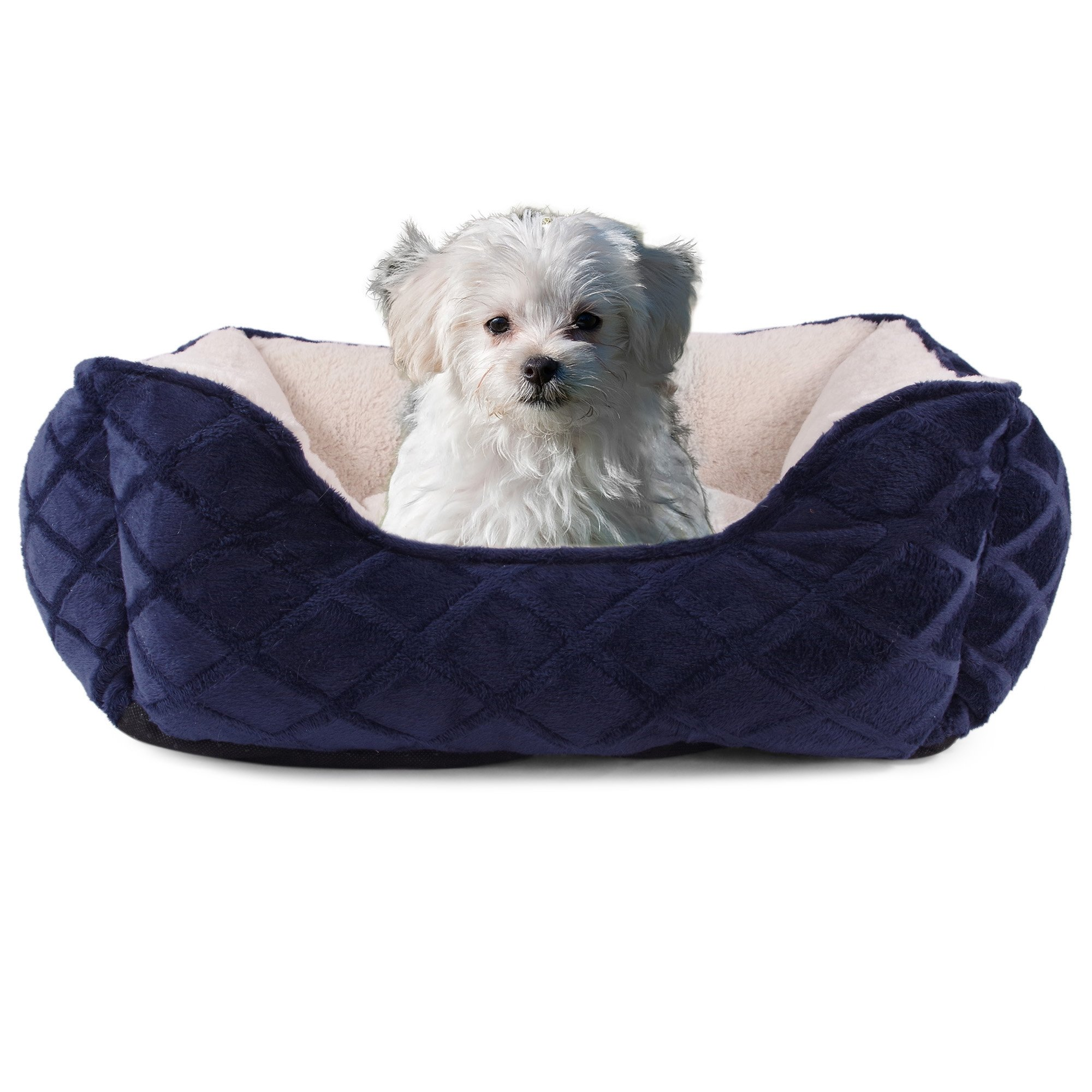 Cozy Cuddlerz C-03BL NAVY Diamond Deluxe Pet Bed, 28'' x 23'' x 8'', Navy