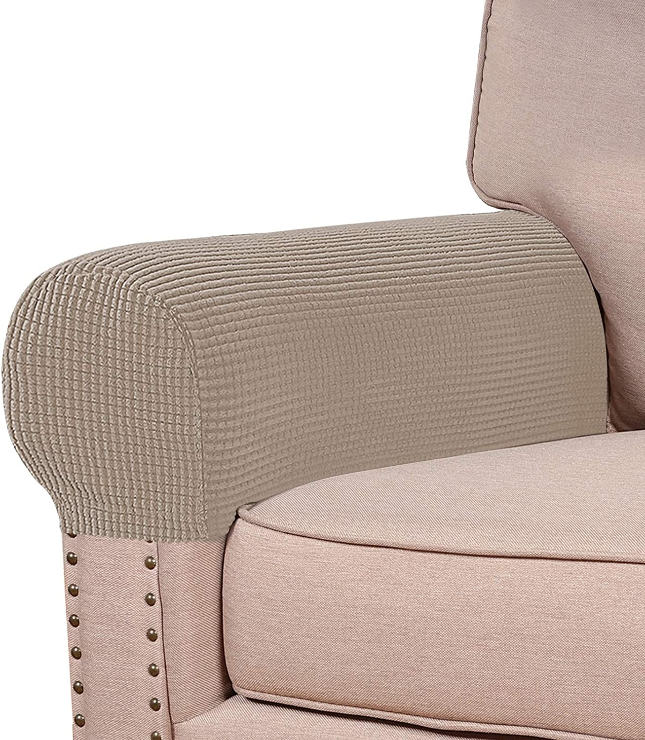 Turquoize Stretch Armrest Covers for Chairs and Sofas Couch Arm Covers for Sofa Spandex Jacquard Armrest Covers Anti-Slip Furniture Protector Washable Armchair Slipcovers for Recliner Set of 4, Sand