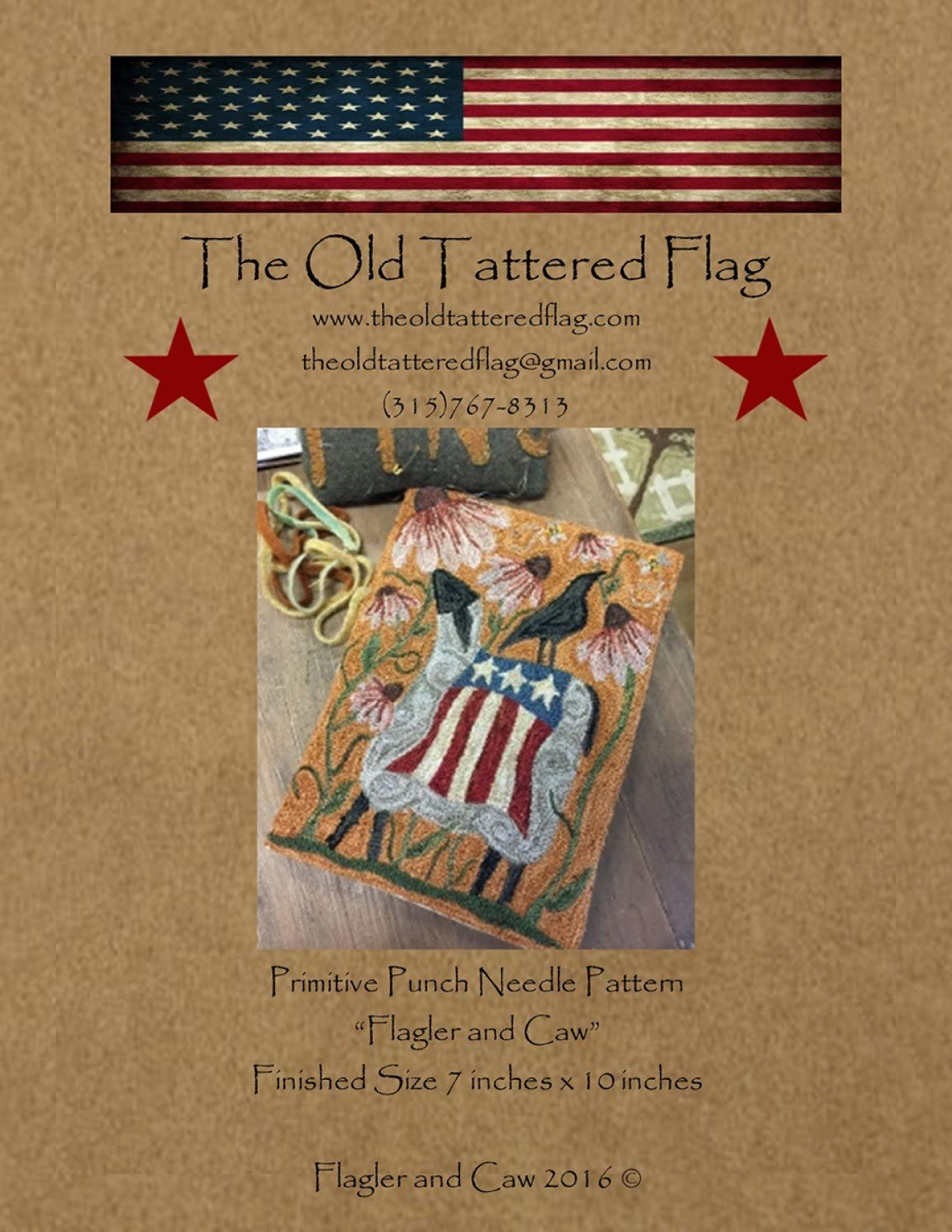 Flagler and Caw Patriotic Sheep Crow Punch Needle Embroidery Old Tattered Flag Pattern