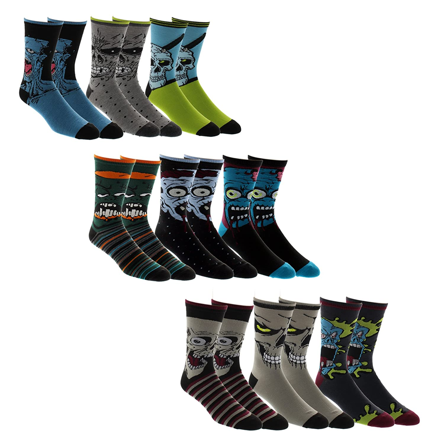 Zombie Socks - Pack of 9 Colorful Zombie Socks - ZombieGift.com