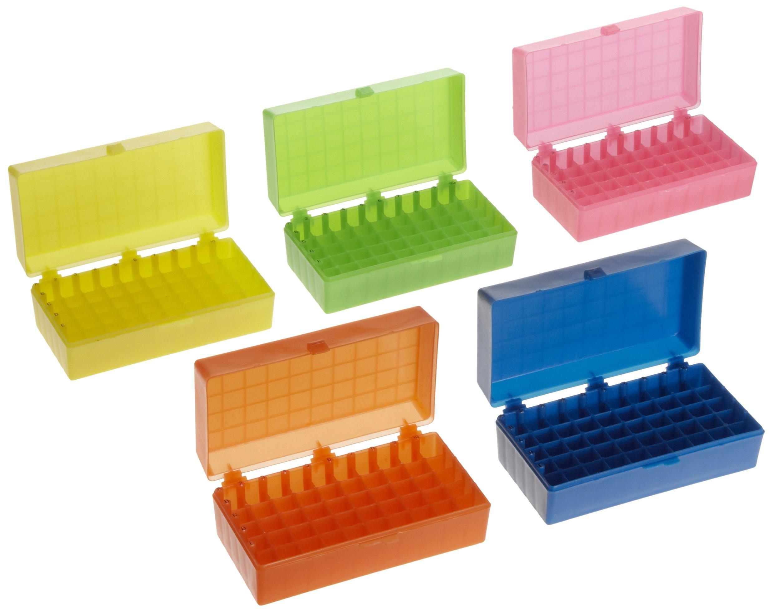 Heathrow Scientific HS120033 50 Well Microtube Storage Box, Cryogenic Box, Tube Storage, 1.5mL/2.0mL Tubes,Polypropylene, 5 Assorted Colors, (5/pk)