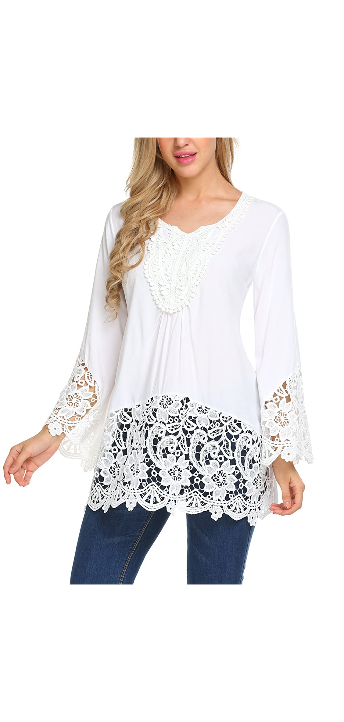 Women's Casual Tops Lace Splice Flare Sleeve Flowy Loose