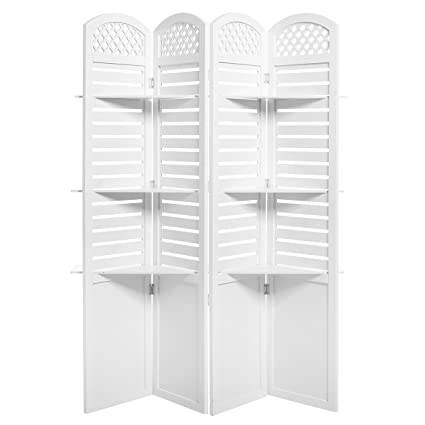 4 Panel Garden Inspired White Wood Room Divider Screen With Removable  Decorative Shelves