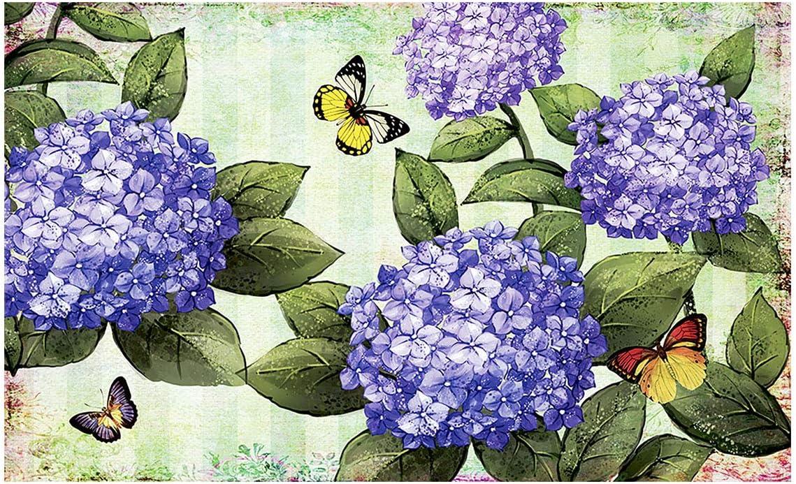 Morigins Spring Butterfly Rubber Door Mat Deorative Floral Blooms Indoor Outdoor Rubber Mats 18x30 inch