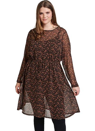 e2000a89384 Zizzi Damen Chiffonkleid Zebraprint Kleid Animal Print Große Größen 42-56