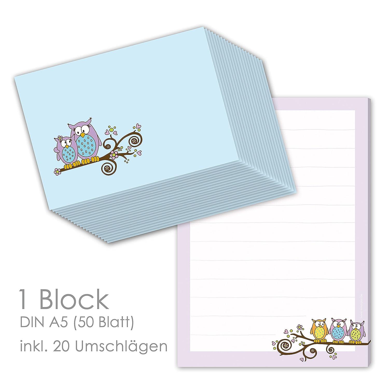 'Cancelleria Set per bambini blocco lettera Gufo DIN A5(50fogli) con 20Buste abbinate/cancelleria per bambini/cancelleria ragazza emufarm