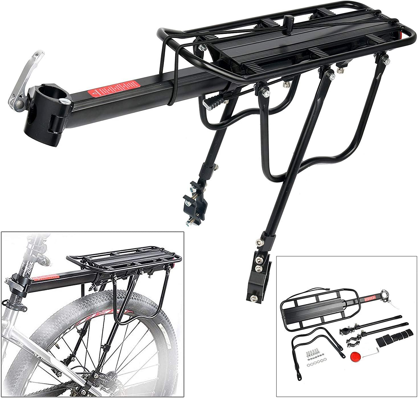 teraysun Bicycle Cargo Rack Aluminum and Gold Rear Bike Rack 110 lb Capacity Adjustable Height Almost Universal Quick Release Mountain Bike Cargo Rack