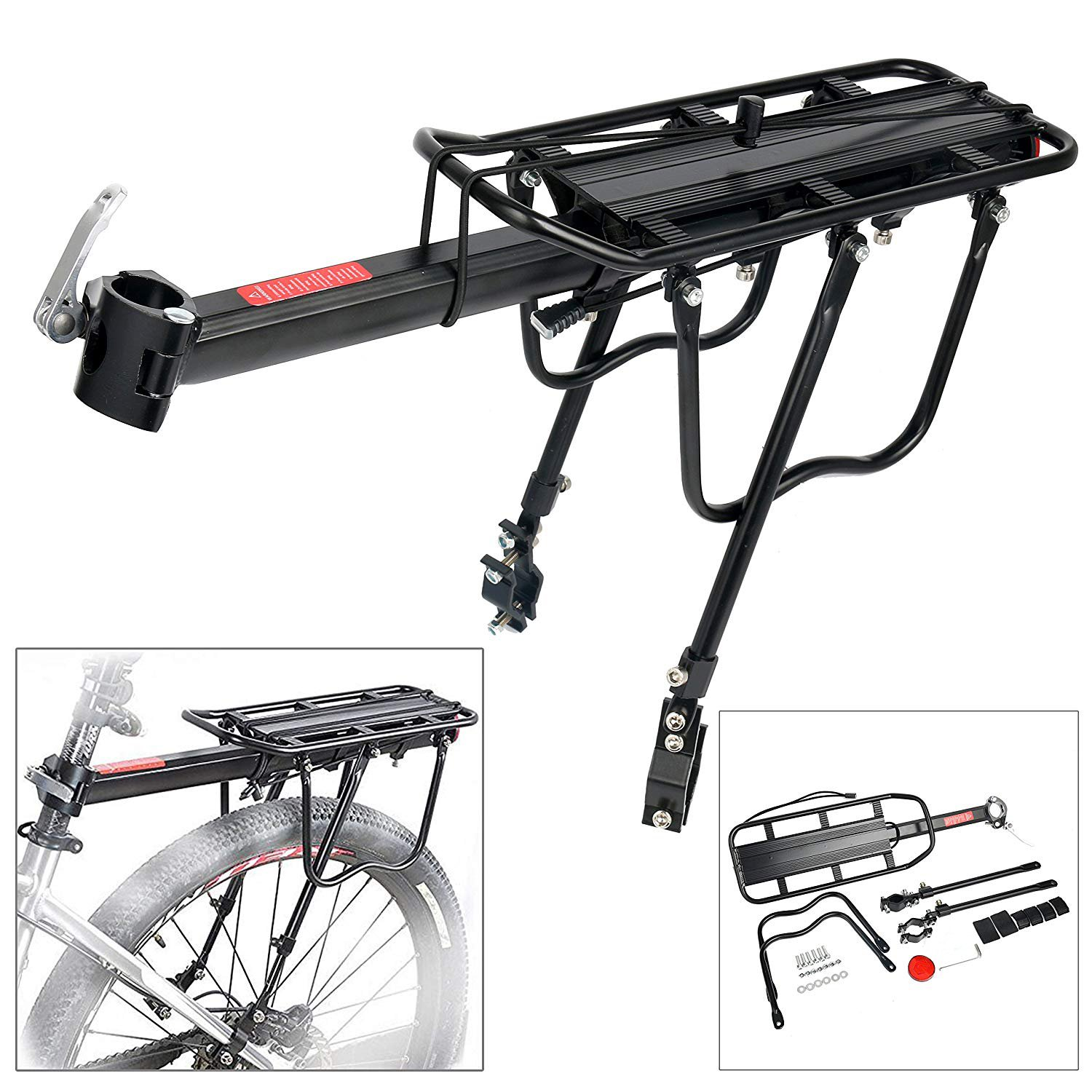 Associated product image for Teraysun Adjustable Bike Luggage Cargo Rack with Reflective Logo