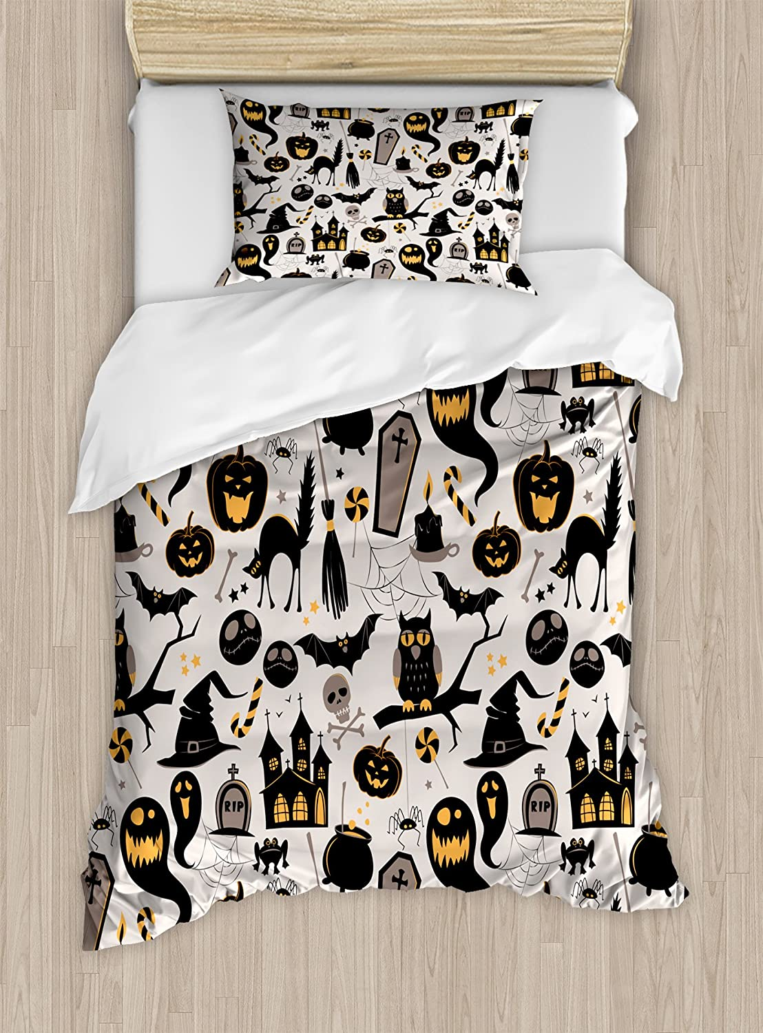 Ambesonne Vintage Halloween Duvet Cover Set Twin Size, Halloween Cartoon Jack o Lantern Tombstone Skulls and Bones, Decorative 2 Piece Bedding Set with 1 Pillow Sham, Pale Grey