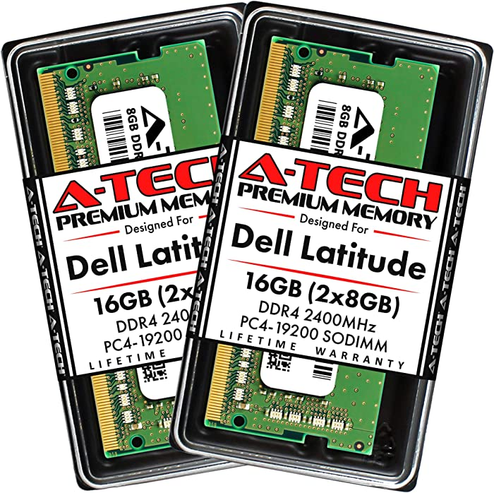 A-Tech 16GB (2x8GB) RAM for Dell Latitude 7400, 7300, 5500, 5400, 5300, 3500, 3400 | DDR4 2400MHz SODIMM PC4-19200 Laptop Memory Upgrade Kit
