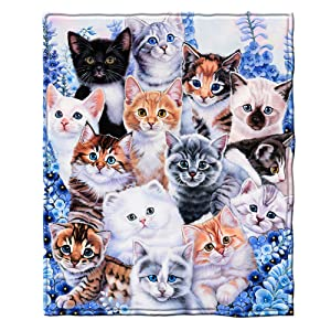 "Dawhud Direct Super Soft Full/Queen Size Fleece Blanket by Jenny Newland, 75"" x 90"" (Kitten Collage)"