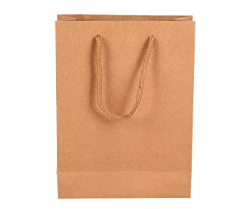 Amazon.com: Bolsas de papel Kraft con asas de 7.5 x 2.0 x ...