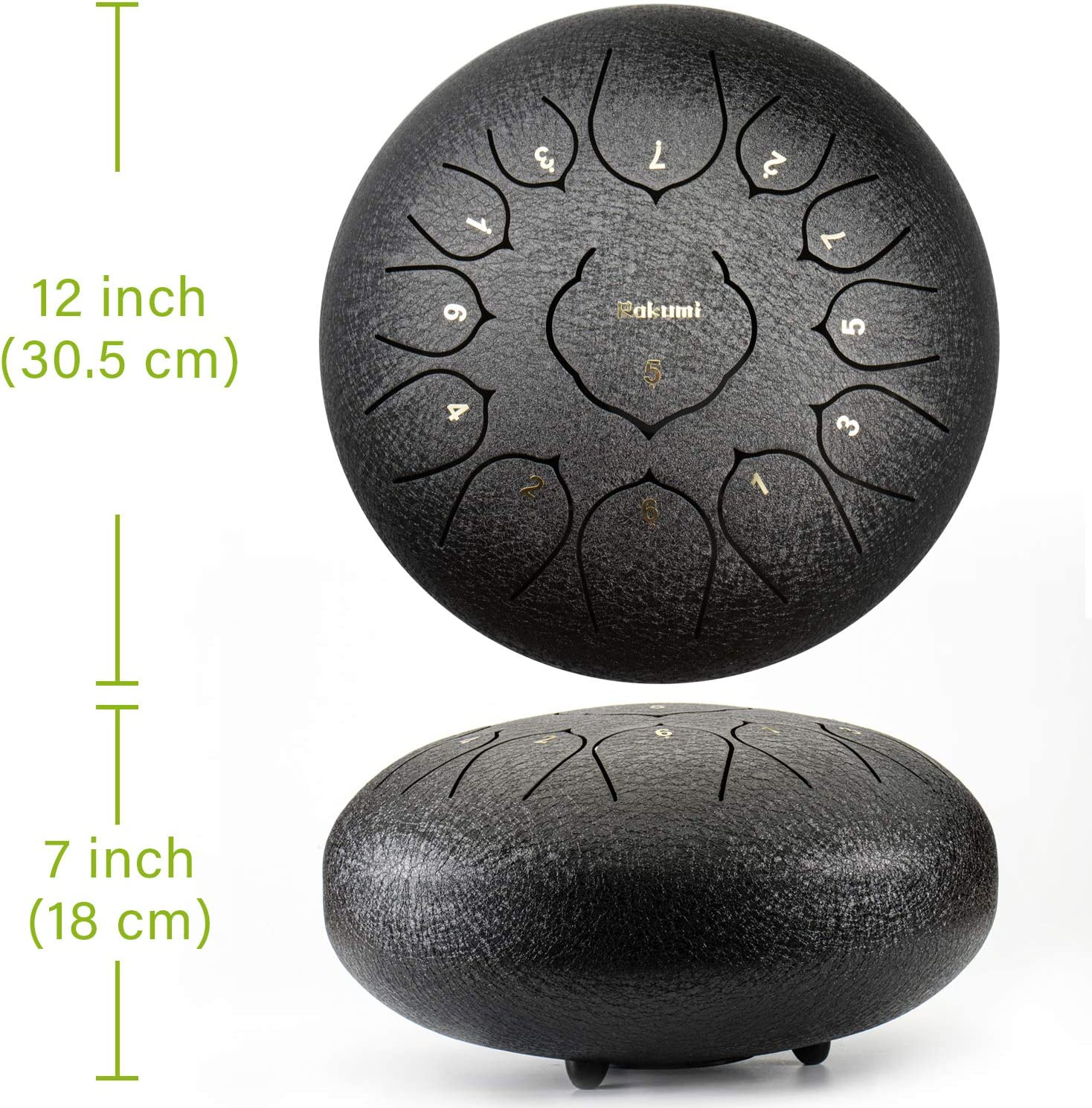 Steel Tongue Drum,12 Inch 13 Note Stainless Steel Tongue Drum Percussion Instrument Lotus Hand Pan Drum with Drum Mallets Carry Bag,Drum Mallets Wide Range of Sound,ideal for Kids and Adults
