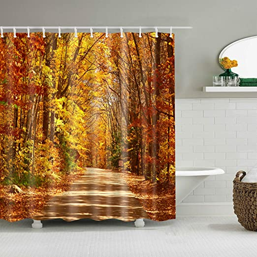Autumn Forest Fall Leaves Thanksgiving Pumpkin Shower Curtain Liner Bathroom Mat