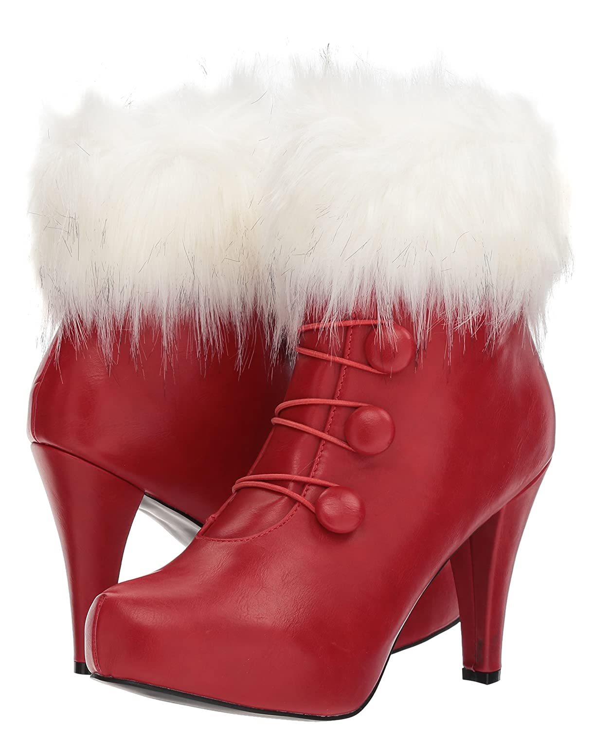 Women's Mrs. Claus White Fur Cuff Red Boots - DeluxeAdultCostumes.com