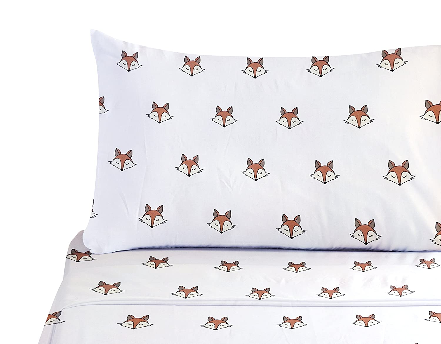 Slumber 1 Woodland Forest Animal Microfiber Sheet Set with Friendly Fox Face - Cute Fox Sheets (Twin)