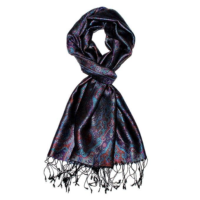 LORENZO CANA Luxus Damen Pashmina Schal Schaltuch jacquard gewebt 100/% Seide 55 x 180 cm Paisley Muster Seidenschal Seidentuch Seidenpashmina harmonische Farben