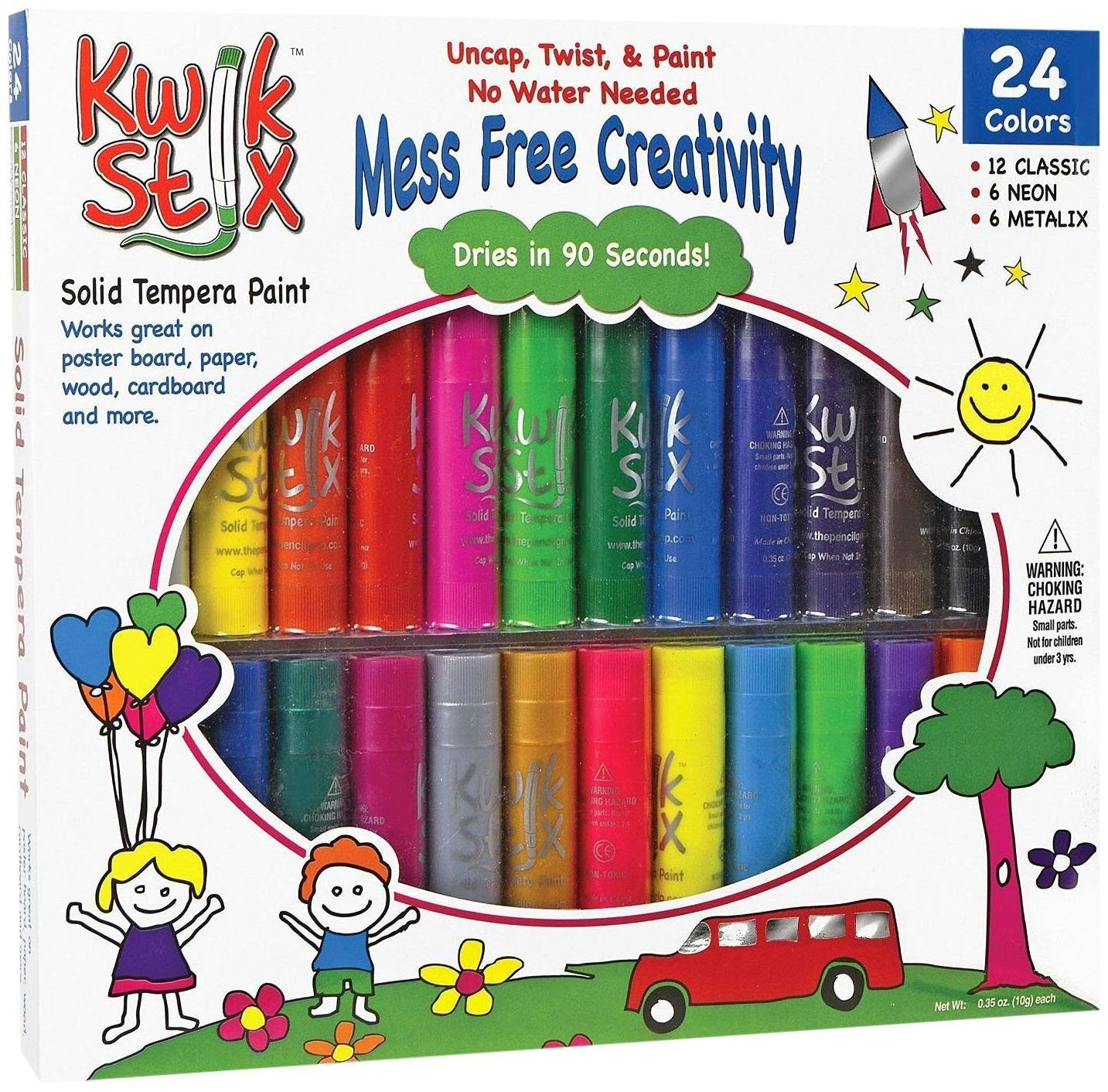 The Pencil Grip TPG-604 Kwik Stix Tempera Paint Pack of 24, Grade:Kindergarten to 12, Assorted (Pack of 24) Kwikstix Tempera Paint Assorted (Pack of 24) PENCIL GRIP INC Accessory