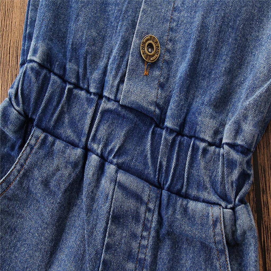 Denim Button Short Sleeve Romper Jumpsuit Outfits EDTO Toddler Baby Girl Clothes