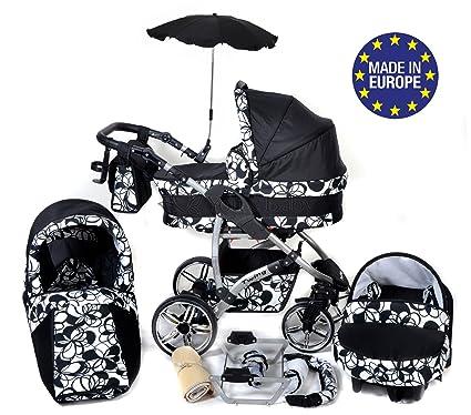 Twing - Sistema de viaje 3 en 1, silla de paseo, carrito con capazo y silla de coche, RUEDAS GIRATORIAS y accesorios (Sistema de viaje 3 en 1, negro, ...