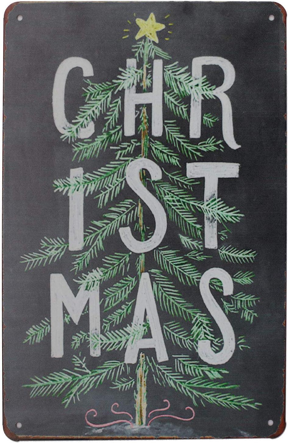 Metal Tin Sign christmas tree Decor Bar Pub Vintage Retro Cafe ART