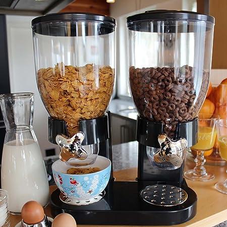 Doble de dispensador para cereales, Corn Flakes y cereales en negro con servilletas billete de 100 euros: Amazon.es: Hogar