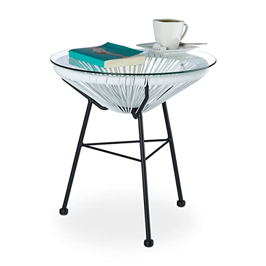 Relaxdays Table Ronde Basse Appoint Extérieur Jardin Balcon Raya