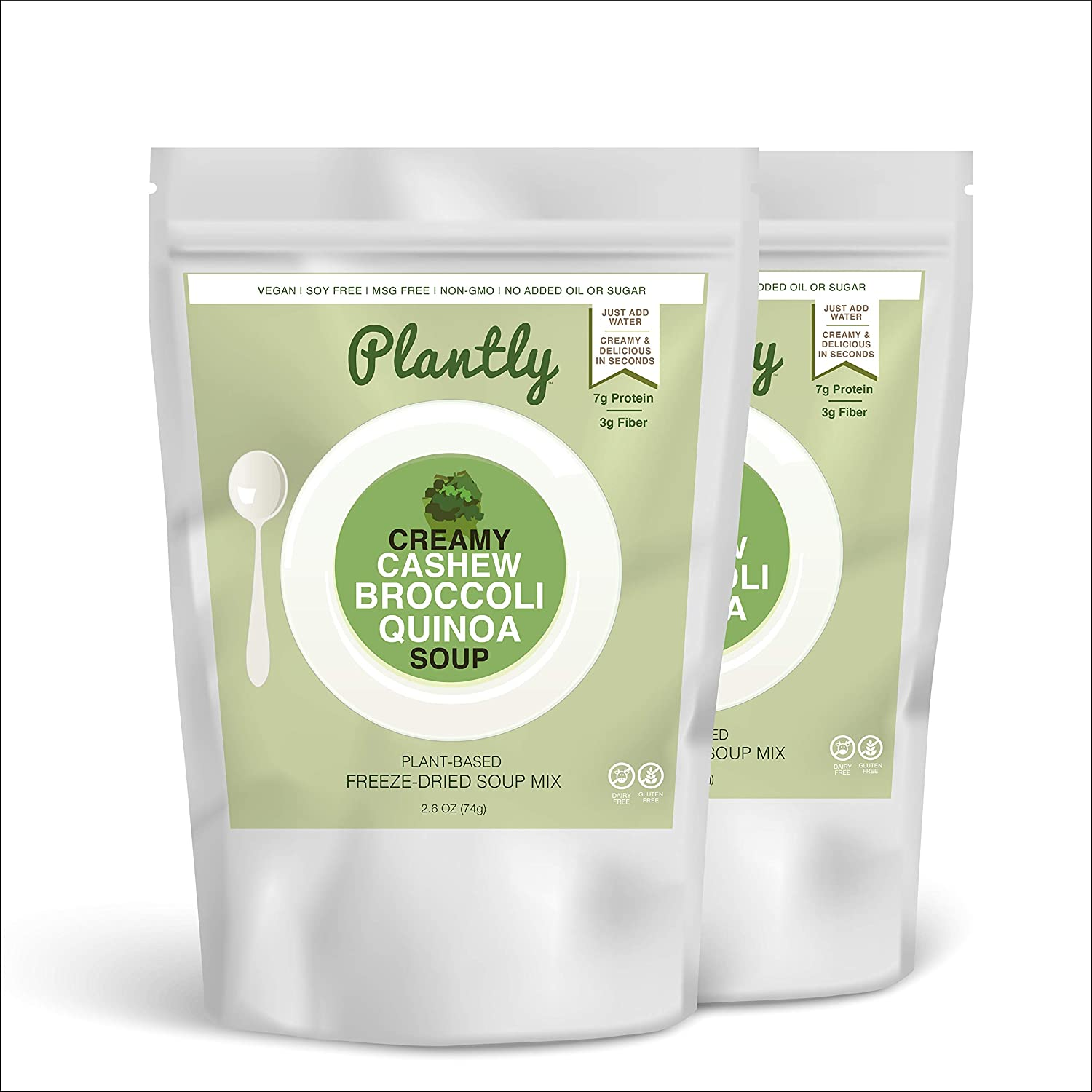 Plantly Creamy Broccoli Organic Vegan Soup Mix | 2 pack, 4 servings | Dairy Free, Soy Free, Gluten Free | Freeze Dried. Just add hot water | Ready in seconds