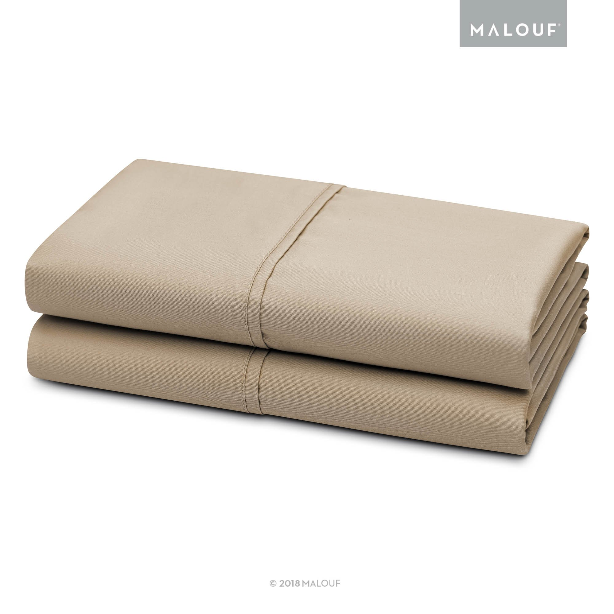 MALOUF WOVEN 600 Thread Count Luxurious Feel Soft Cotton Blend Pillowcase Set - Includes Two (2) Queen Pillowcases - Driftwood
