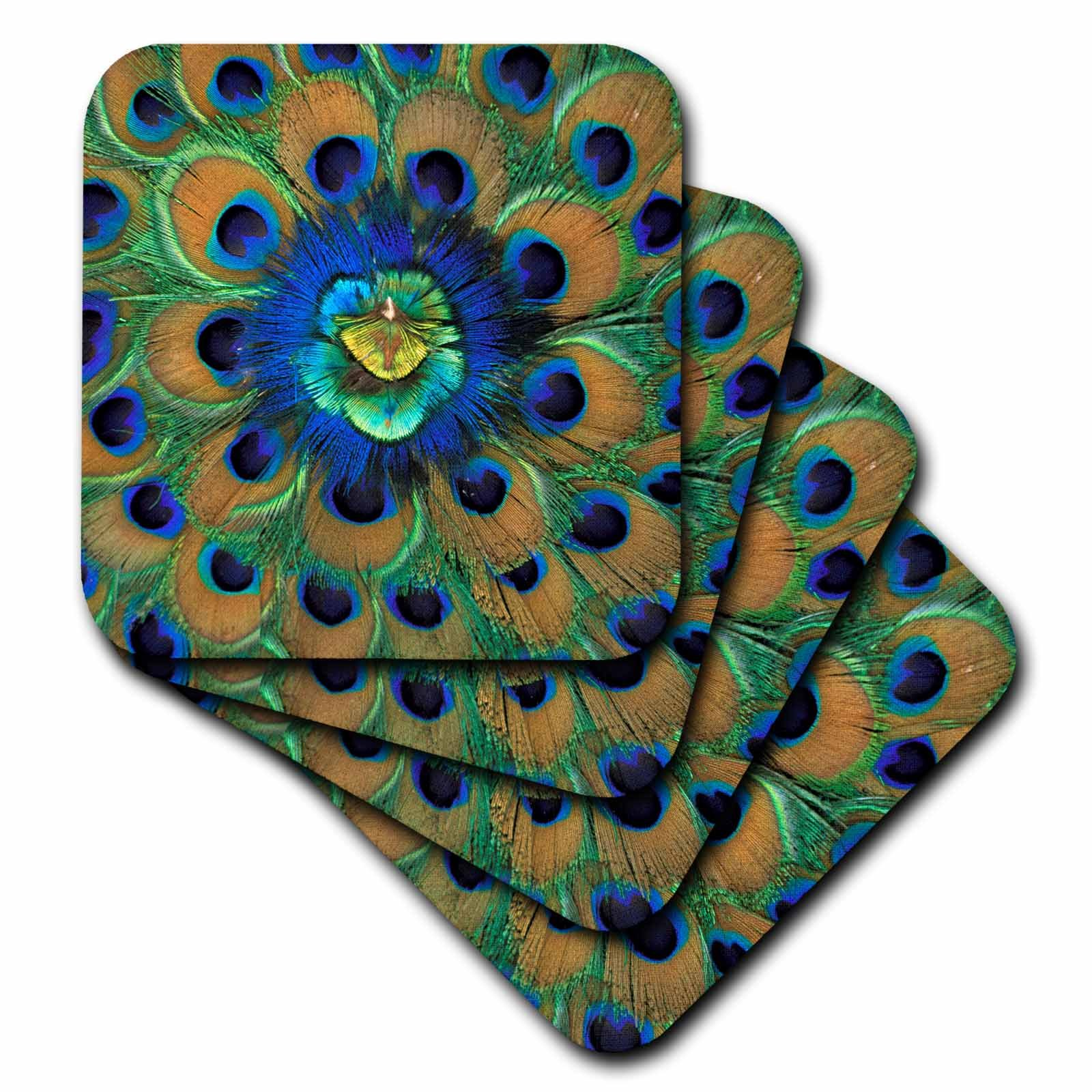 3dRose cst_73909_2 Natural Peacock Feather Patterns, India-AS10 DFR0096-David R. Frazier-Soft Coasters, Set of 8