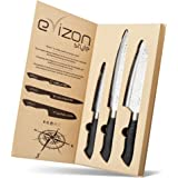 Evizonstyle Chef Knife Set, Set of 3 Super Sharp Knives with Carbon Steel Blades and Airflow Design for Easier Slicing, Dishwasher Safe, Best for Home and Professional Kitchen Use, Eco-Packaging