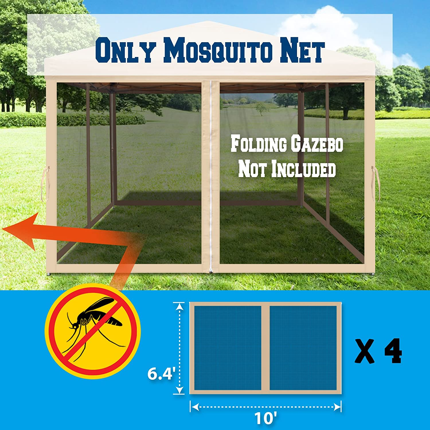 Pack of 4 Zippered Mesh Sidewalls Only BenefitUSA Replacement Mosquito Netting for 10 x 10 or 8 x 8 Gazebo 10 L X 6.4 W for 10 x 10 Gazebo, Beige