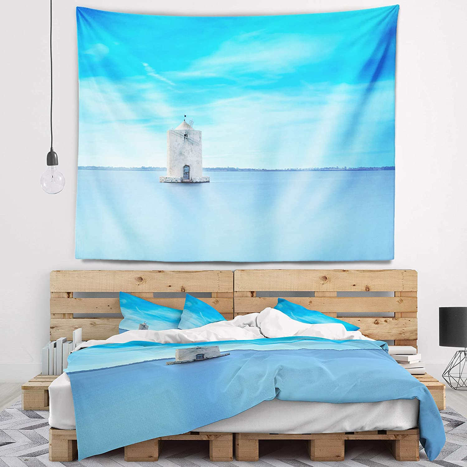 80 x 68 Designart TAP11370-80-68  Old Spanish Windmill in Blue Lagoon Seashore Blanket D/écor Art for Home and Office Wall Tapestry x Large