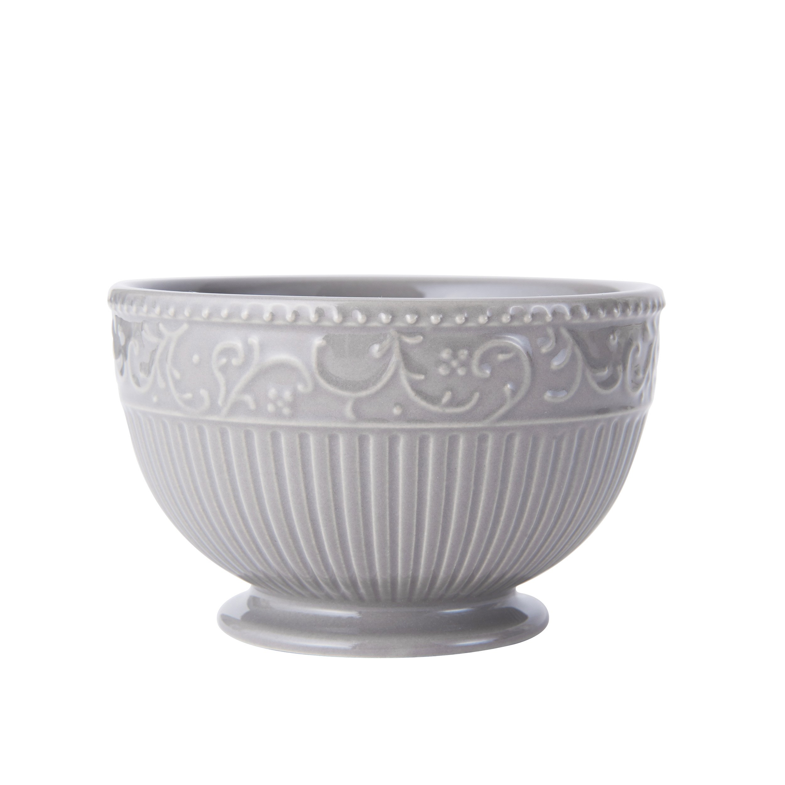 Mikasa Italian Countryside Accents Footed Fruit Bowl, Scroll Grey