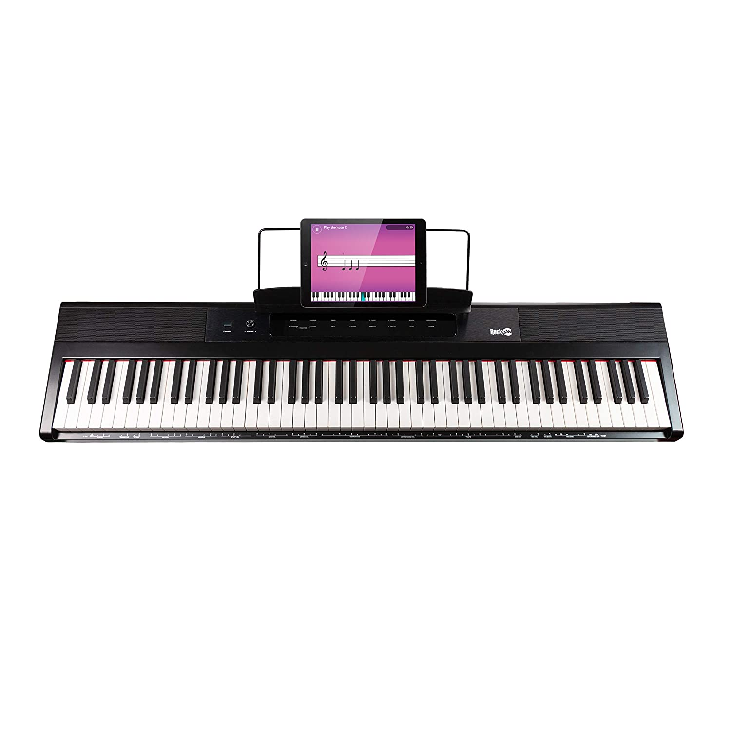 RockJam 88-Key Beginner Digital Piano / Keyboard with Full-Size Semi-Weighted Keys, Power Supply and Built-In Speakers RJ88DP