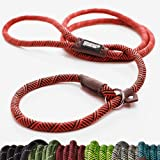 Extremely Durable Dog Slip Rope Leash Premium Quality Mountain Climbing Lead Strong Sturdy Comfortable Support Pull for Large and Medium Sized Pet 6 feet 红色