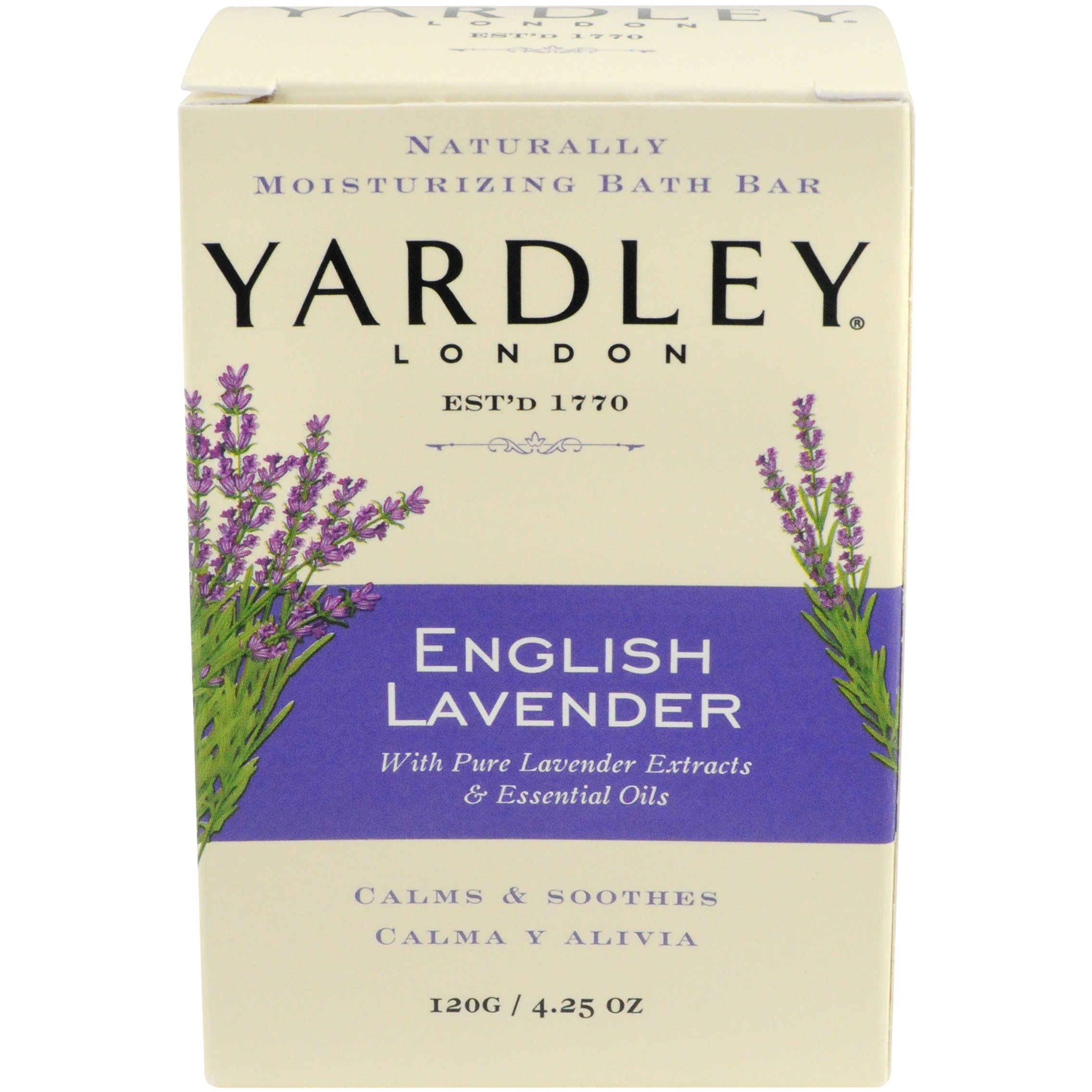 Yardley London Moisturizing Bar English Lavender with Essential Oils 4.25 oz (Pack of 4)
