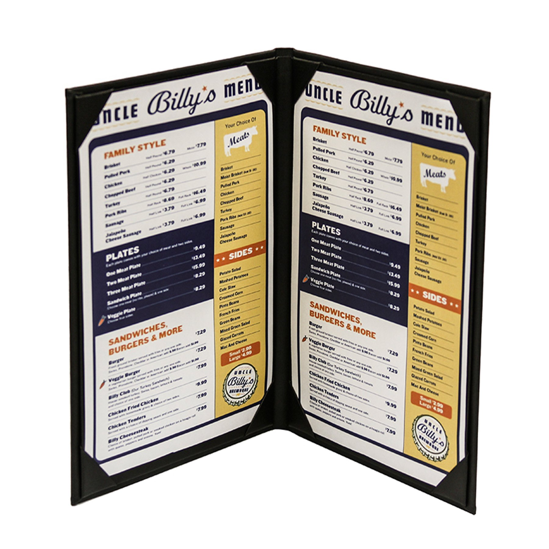 10-Pack 8-1/2'' x 14'' ''Classy'' Double Panel Pocket Menu Cover Leatherette