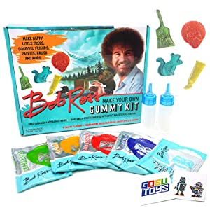 Bob Ross Make Your Own Gummy Kit - DIY Candies - 4 Fruity Sour Flavors - Strawberry, Blue Raspberry, Green Apple, Lemon with 2 Gosutoys Stickers