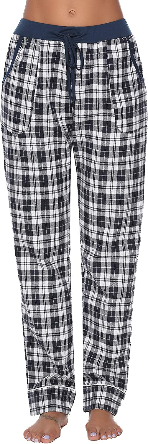 iClosam Womens Lounge Pants Soft Flannel Check Pajama Bottoms PJS Trousers for Ladies S-XXL