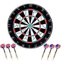 """Two Side Printing Dart Board - 18"""" Dart Board Set with 6pcs Darts for Game Room"""